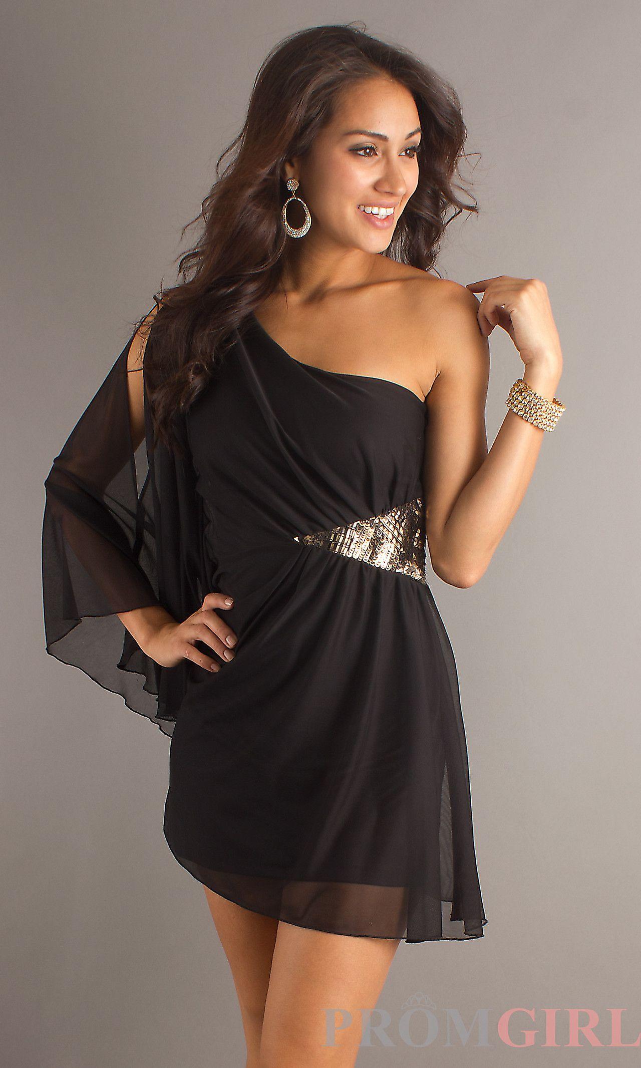 Short black dress with one long sheer sleeve xosmj dresses