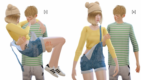 Couple Poses #1Total 6 poses in 1 packageM - F, FRIENDLY - HUGIf something wrong do not be afraid to write to me.  CCs List: [F] PompomHat | Hair | Choker | Top | Pants | Shoes [M] Hair | SeptumRing | Top | Pants  Download: Dropbox(Ouo-Adfly)| Guide for Download