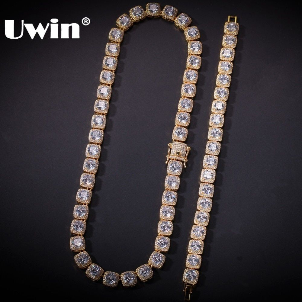 Uwin 10mm Jewelry Set Gold White Gold Bling Square Iced Link Chain