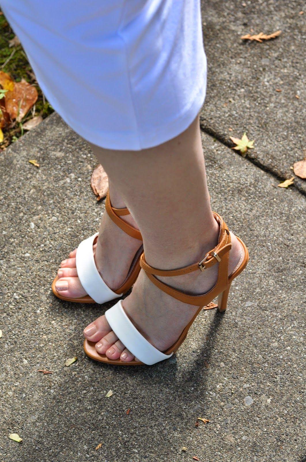 tan and white heels