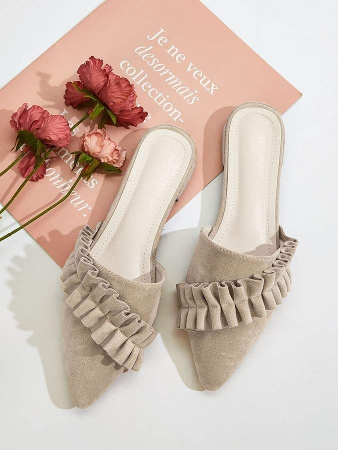 Shein Ruffle Decor Point Toe Mules Mules Chic Shoes Pointed Toe