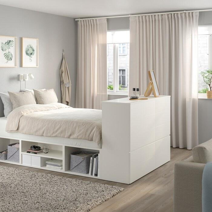 Platsa Sangynrunko 10 Laatikkoa Valkoinen Fonnes Ikea In 2020 Small Bedroom Ikea Hack Bedroom Ikea Bed