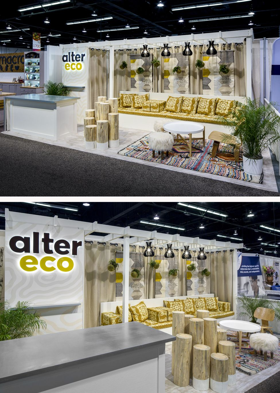 ce5d095175e7 Alter Eco s eclectic trade show booth design was a show stopper at the  Natural Products Expo West show this year. Condit took the company s  previous booth ...