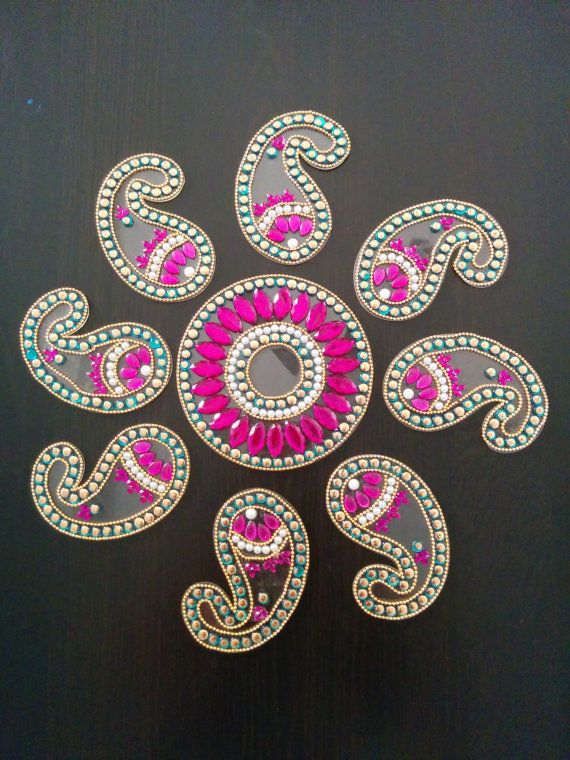 Multipiece floral rangoli by PalavCreations on Etsy