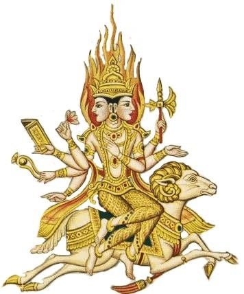Agni, the Vedic god of fire, has two heads, one marks