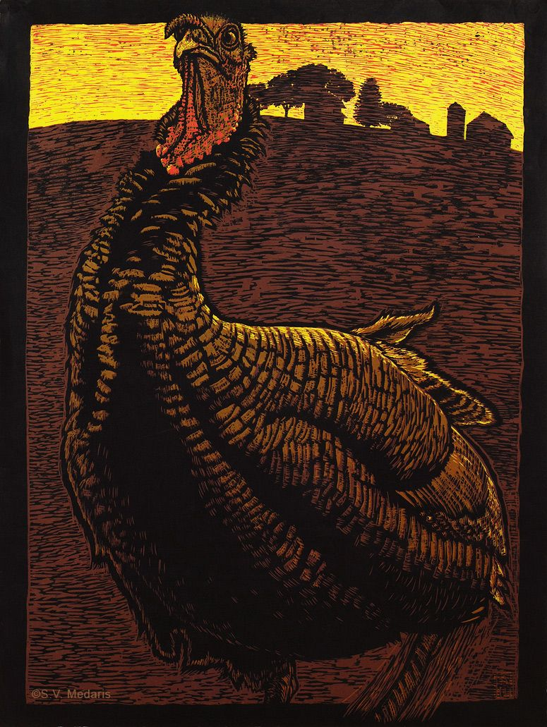 Turkey Promenade Woodcut SV Medaris