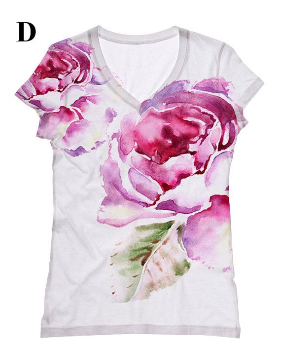 woman pink Flower print top, t shirt and tank by hellominky xs ...
