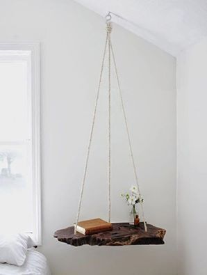 Hanging table.  Love the driftwood!