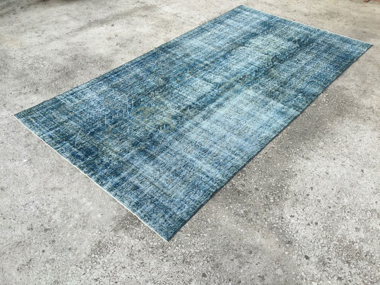 5 X 10 1 Blue Vintage Rugs Overdyed Rug