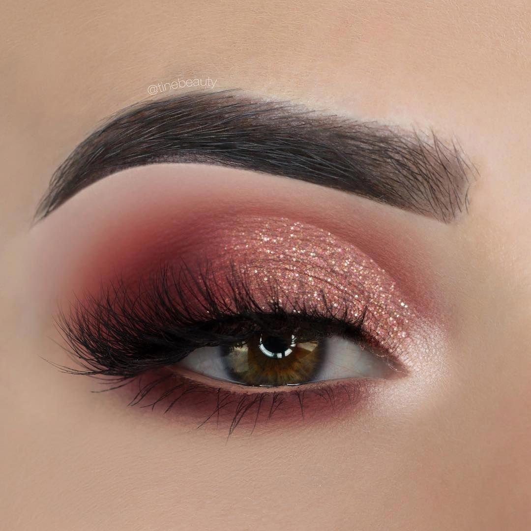 Rose Gold Burgundy Half Cut Crease Smokey Eye Makeup
