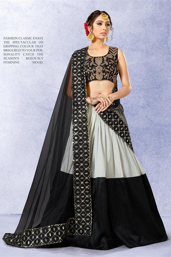 ef49d349338 Black & Grey Color Banglori Silk Fabric Lehenga Choli   Indian Haute ...