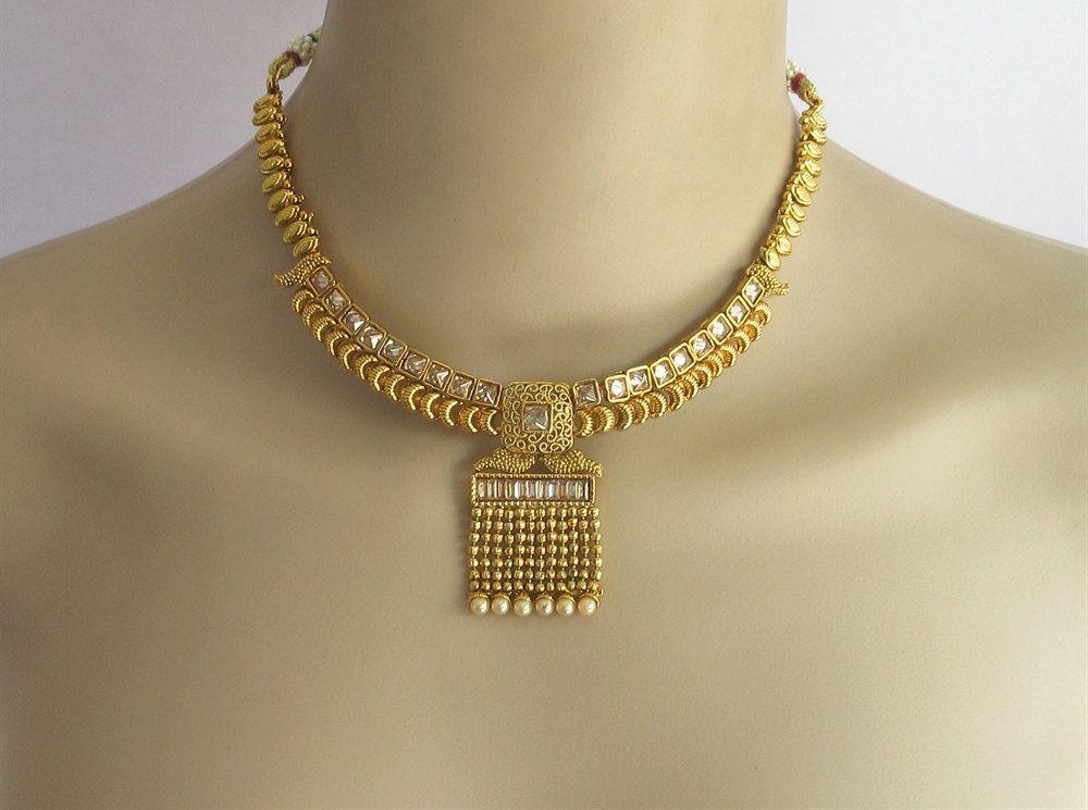 Gold Crystal South Indian Jewelry Necklace SetCrystal Necklace