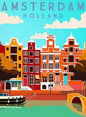1cdd1d16dd5 1950 s - Amsterdam Holland - Travel Advertising Poster