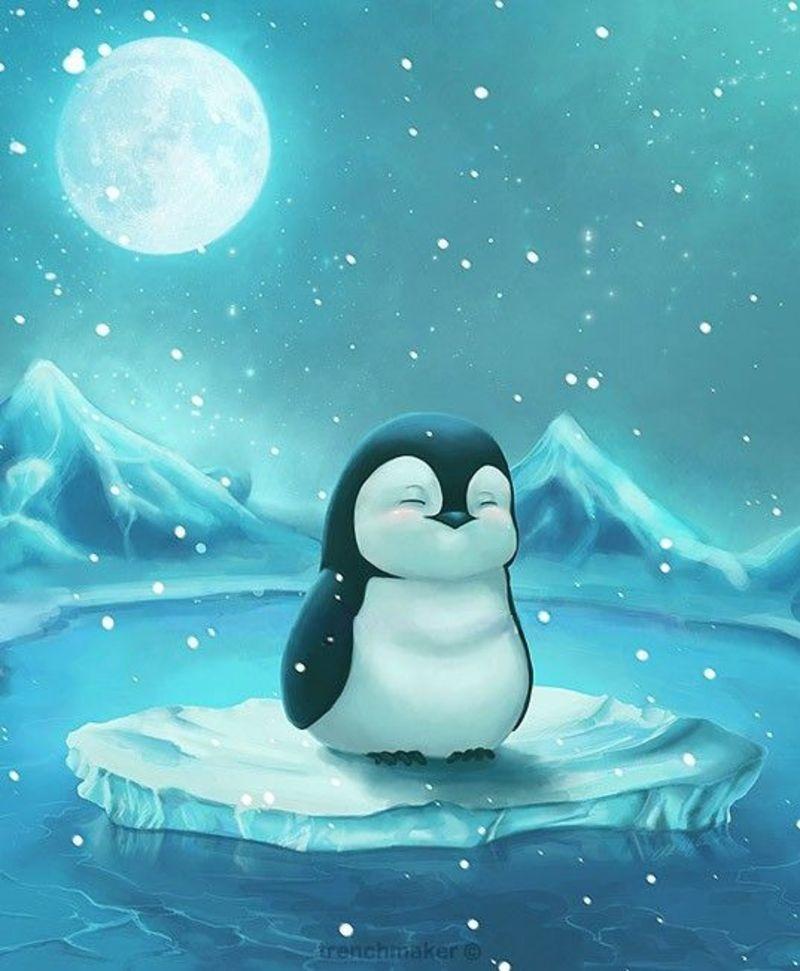 Именины, смешной рисунок с пингвином