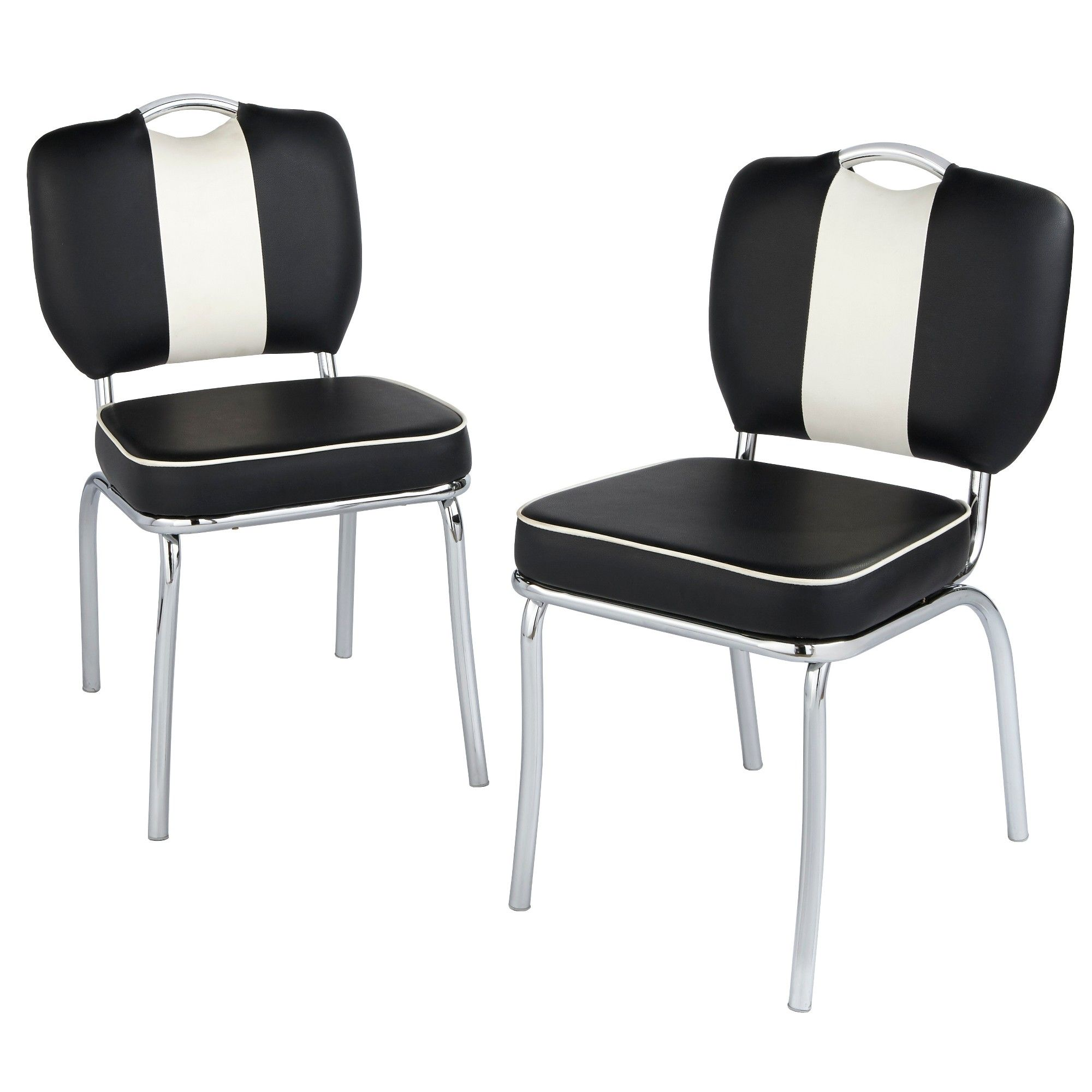 Amazing Set Of 2 Raleigh Retro Dining Chairs White Black Pabps2019 Chair Design Images Pabps2019Com