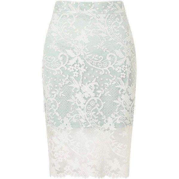 Miss Selfridge PETITE Lace Pencil Skirt (210 BRL) ❤ liked on Polyvore featuring skirts, saias, bottoms, mint green, petite, petite pencil skirt, mint green skirts, petite white skirt, petite skirts and mint green pencil skirt