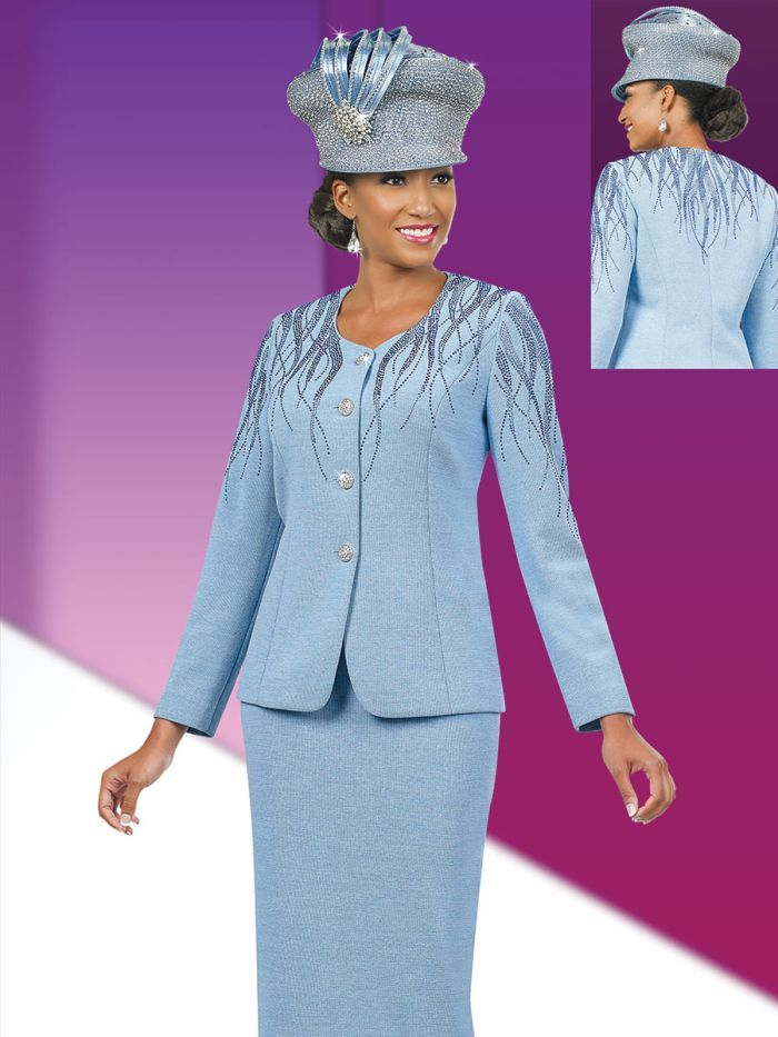 cdfa2cc71cd Style 48010 from Ben Marc is a two piece women s church suit with shoulder  embellishment featuring a 25 inch jacket and 32 inch skirt.