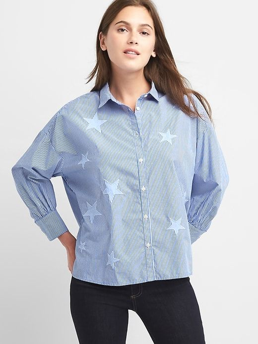 c10085e1 Gap Womens Stripe Star Patch Shirt Blue Stripe | Products | Shirts ...