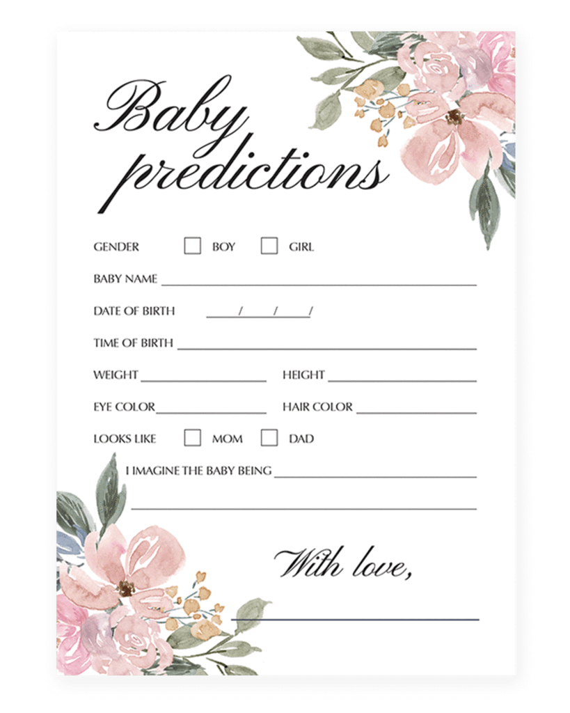 Elegant Shower Predictions For Baby Game Printable Baby Shower Invitations Baby Shower Prediction Cards Elegant Baby Shower