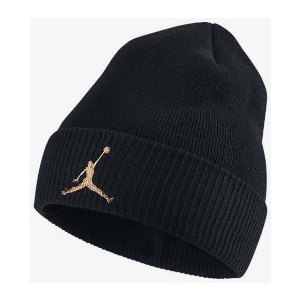2dec1d572dd ... coupon code for jordan ovo cuffed knit hat black metallic gold beanie  15 liked on polyvore