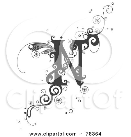 Royalty Free RF Clipart Illustration Of A Vine Alphabet Letter N By BNP