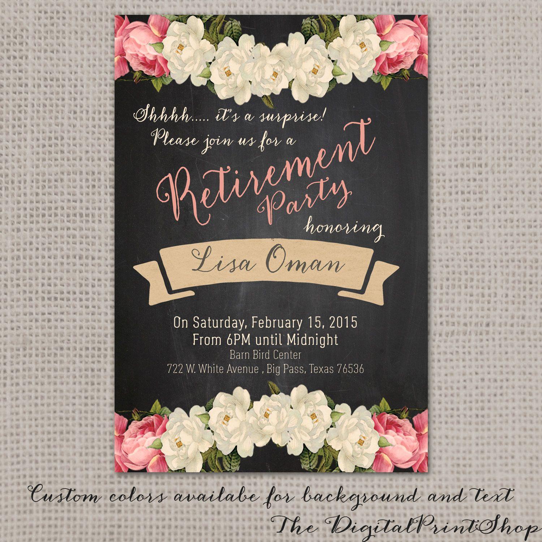 Surprise Retirement party invite, rustic chalkboard paper lace ...
