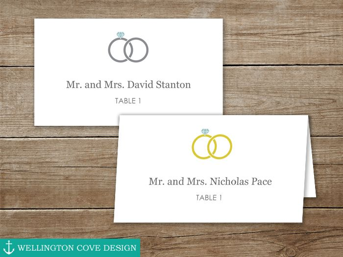 Wedding Ring Place Cards \u2022 Download this DIY Template for Folded and - folded place card templates