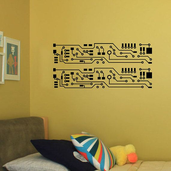 "circuit board wall decal (2 strips 5"" x 24"") for living room"