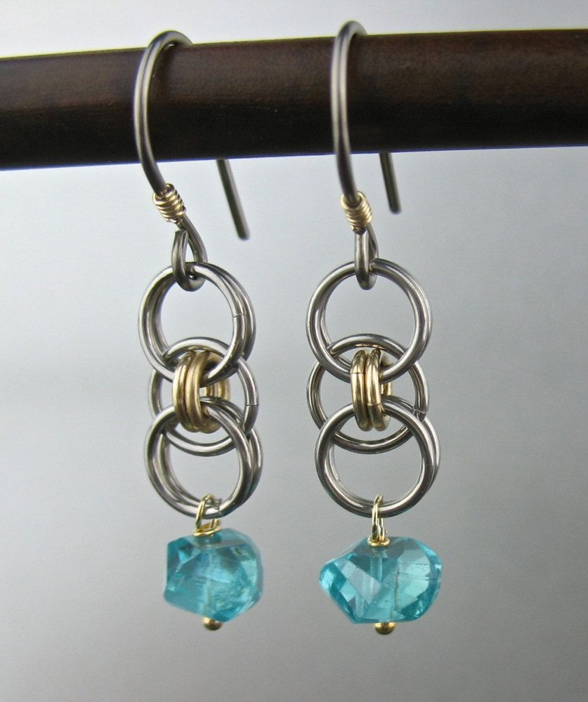 Aqua Blue Stone Chainmaille Earrings, Goldfill Stainless Steel Niobium  Earrings, Chainlink Jewelry, Gray Blue Gold Earrings, Chainmail