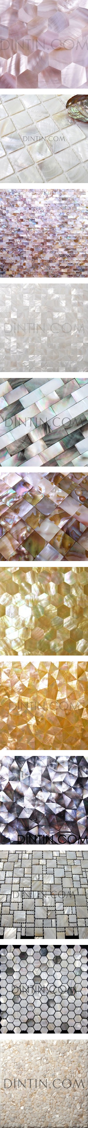 Shell Tiles by dintincom on Polyvore featuring women's fashion, modern organic products, tiles, wall, jewelry, mosaic jewelry, mother of pearl jewelry, colorful jewelry, tri color jewelry and multicolor jewelry