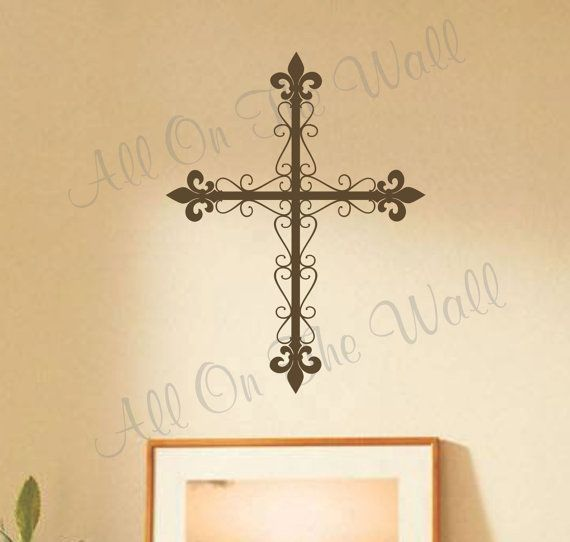 Cross Wall Decal Religious Family Decals Home Decor Christian Vinyl ...