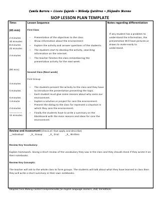 Siop unit lesson plan template sei model jitha Pinterest - Siop Lesson Plan Templat