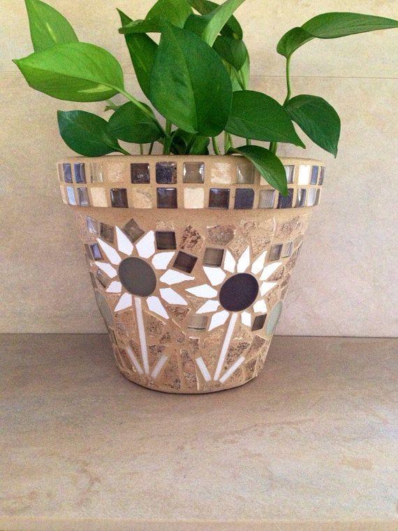Mosaic Planter Large Flower Pot Rustic Plant By Mozehicdesigns Mosaic Flower Pots Rustic Plant Containers Mosaic Garden Art