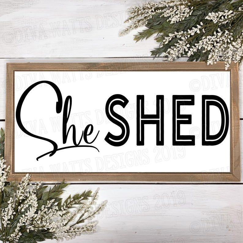 Photo of SVG She Shed   Cutting File   Farmhouse Fixer Upper Rustic   Craft Room   Woman Cave   Sign   DXF PNG   Instant Download   Vinyl Stencil