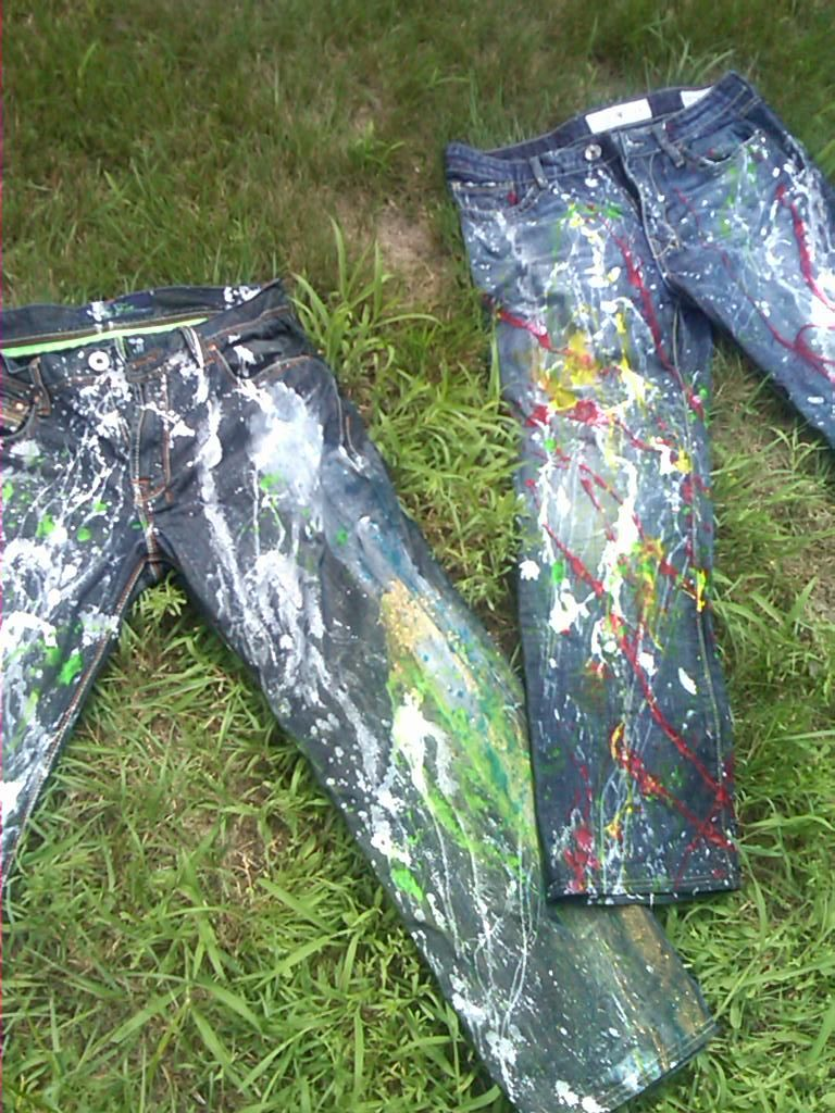 Tainted Jeans by MissTroye...loving the creativity that this project allows for.  I find it soothing and meditative.  I was barefoot in the grass when I did these so that was exceptionally special as I had a morbid fear of grass as a little girl
