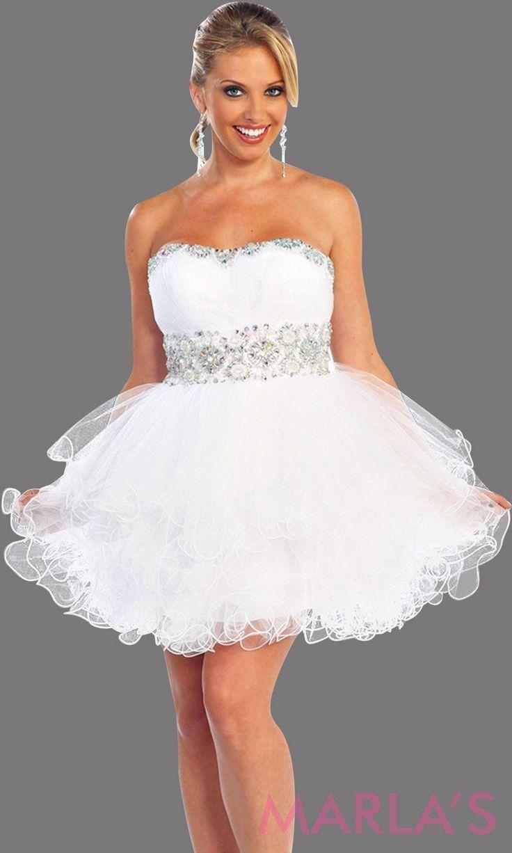 Kurzes, trägerloses, weißes Kleid mit gekreuztem Rücken  Weißes