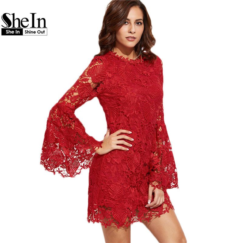 SheIn Autumn Women Bodycon Dress Round Neck Party Dresses Red Embroidered Lace Overlay Long Flare Sleeve Sheath Dress