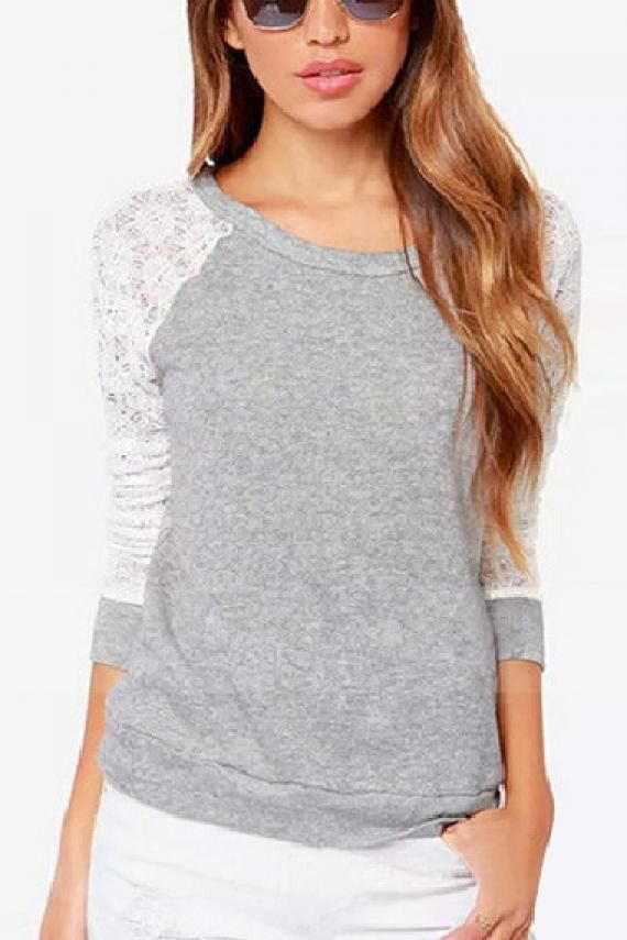Lace Splicing Grey Round Neck Long Sleeve T-shirt