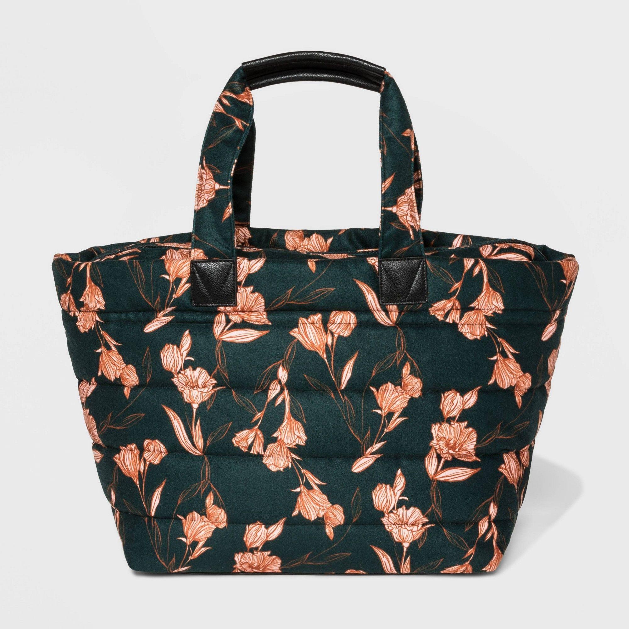 Floral Zip Closure Weekender Bag A New Day Dark Green