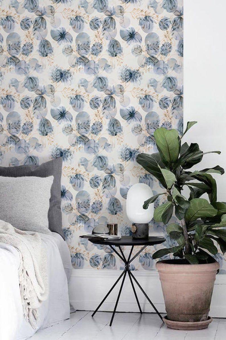 Papier peint floral, sticker Floral, fond décran amovible murale florale, BW076