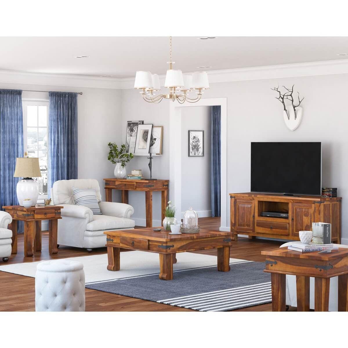 Best Terrarum Rustic Solid Wood 5 Piece Living Room Set 400 x 300