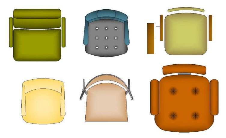 CAD SYMBOLS : COLOUR FURNITURE: CHAIRS - OFFICE & BOARDROOM