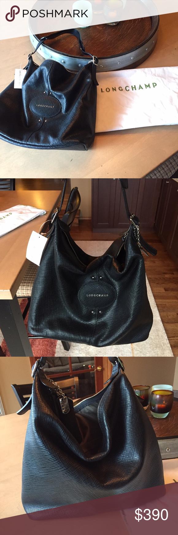Gorgeous Longchamp Black Quadri Hobo Bag Nwt Flat Style Quadry Brand New Never Been Used Purse Color