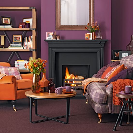 Purple and orange living room is part of Traditional Living Room Orange - Looking for winter living room decorating ideas  Take a look at this bold living room from Ideal Home for inspiration  For more living room ideas, visit our living room galleries
