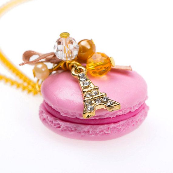 Rose Macaroon Eiffel Tower Necklace