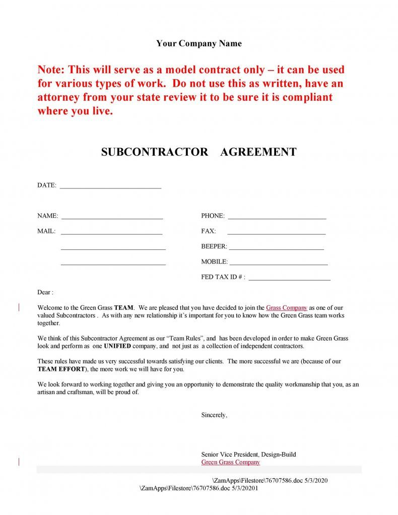 Legal Archives Templatelab In 2021 Subcontractor Agreement Template Word Business Template