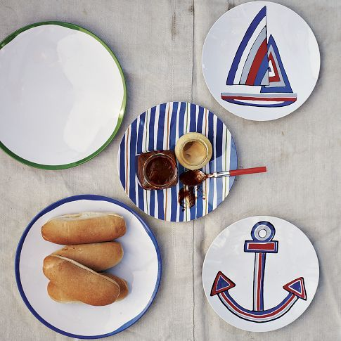 schooner melamine plates west elm porcelaine art de la. Black Bedroom Furniture Sets. Home Design Ideas