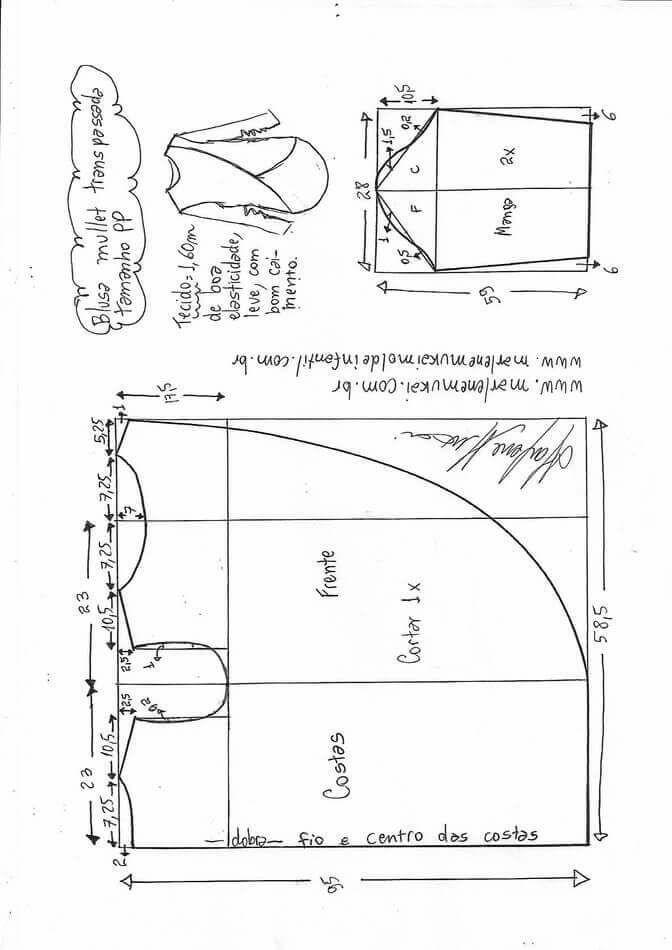 Blusa mullet cruzada larga para mallas | ajustes costura | Pinterest ...