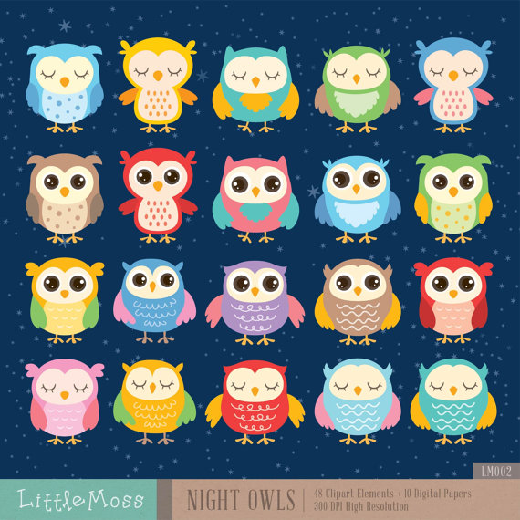 Night Owls Digital Clipart And Papers Etsy Digital Clip Art Clip Art Owl Classroom Decor