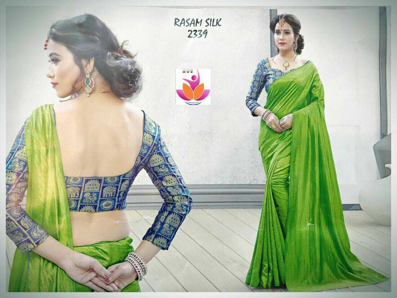 940ef7df9f0264 Material - Silky silk plain sarees 🍁 Saree is with Beutiful Peacock  Elephant thread Weaved Banarasi silk Blouse 🦋🦋 💐Soft n Shiny Cloth💐